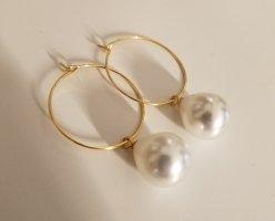18k Gold Creolen mit weißer Perle (Handgemacht)