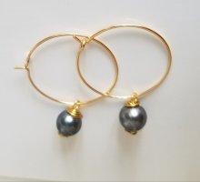 18k Gold Ohrringe mit grauer Perle (Handgemacht)