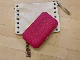 2 Clutches kleine Taschen Forever New H&M pink cremeweiß Nieten gold Quaste