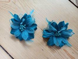 2 Haarklammer blau/türkis Blumen