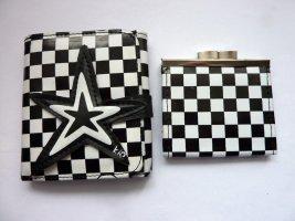 2 in 1 Portemonnaie Schachbrett Karo Checker schwarz weiss kariert Sterne Muster Clip Geldbörse