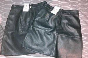Jean Pascale Skórzana spódnica ciemnozielony-khaki