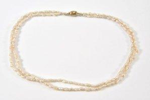2-reihige Perlenkette mit 333er Gold Schließe Collier Perlen Juwelierstück