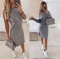 Vestido tejido negro-color plata