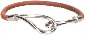 25010 Hermès Jumbo Single Tour Armband aus Leder in den Farben Braun und Palladium