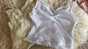 Fishbone Top corto bianco-giallo chiaro