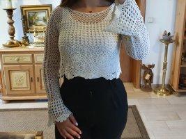 H&M Divided Top en maille crochet blanc