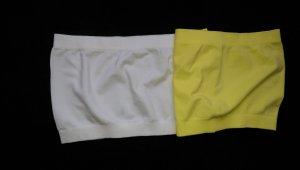 2x Bandeautop bauchfrei BH Uni weiß gelb Neu C&A