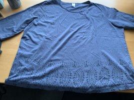 3/4 Arm Shirt stahlblau mit Ornamenten Größe 54 von Sieh an  getragen