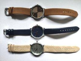 keine Horloge met lederen riempje veelkleurig