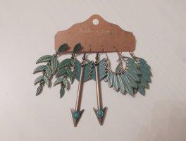 3 Paar Ohrringe, Boho Ethno Schmuck, Feder Creolen, Tribal Gypsy Ohrringe