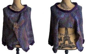 handmade Poncho en tricot violet foncé acrylique
