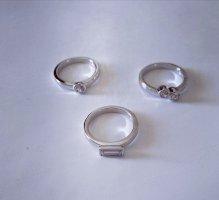 Metropolitan Zilveren ring wit-zilver