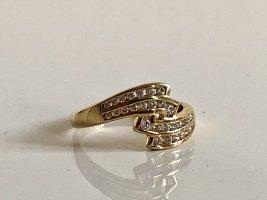 333 Gold Ring Goldring Edelstein weiss im Brillant Schliff 8kt 8ct Gold