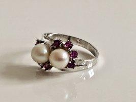 333 Weißgold Goldring 333er Gold Ring weissgold Vintage Perlen Edelsteine 70s