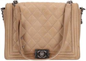 36801 Chanel CC mittlere Boy Handtasche aus Leder in Beige und silbergrauem Metall