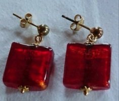 Gold Earring gold-colored-dark red
