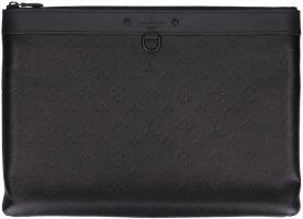 37901 Louis Vuitton Discovery Pochette Clutch Handtasche aus Monogram Shadow Kalbsleder in Schwarz