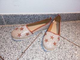 38 Espadrilles Schuhe Ballerinas gold braun Sterne