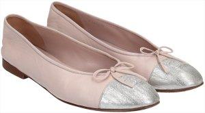 38651 Chanel CC Ballerinas Schuhe aus Leder in Rosé und Silber in Gr. FR 42