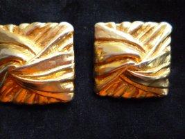 3x Modeschmuck: Eckige goldfarbige Klipse 3 cm/2x Ohrstecker: Perlenstecker ca. 0,7 cm + Tropenform H 3cm