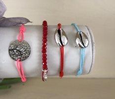 4 elastische Armbänder Lebensbaum, Muscheln