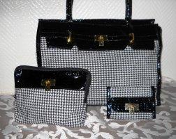 4 in 1 SET Henkel Hand Tasche Shopper Bag Hahnentritt h m schwarz weiß Lackleder Karo Portmonaise Clutch Kulturbeutel