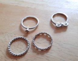 4 Stapelringe Stacking Echt Silber