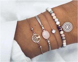 4 teiliges Armband Set Lebensbaum