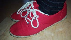 40 wNEU Sneaker Limelight rot Stoffschuhe Schnürschuhe Bast