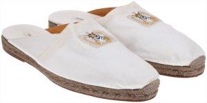 40751 Hermès Espadrilles 'Tiger' Schuhe aus Toile in weiss Gr. 45