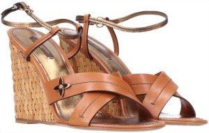 41554 Louis Vuitton Sandale mit Keilabsatz aus Leder und Geflecht Gr. 41