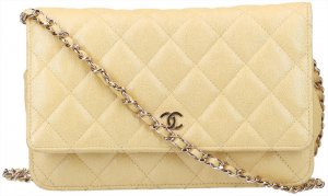 41627 Chanel CC Wallet on Chain Umhängetasche - Tasche aus Kalbsleder 19S in Iridescent Gelb