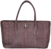 41963 Chanel CC Cerf Tasche Handtasche aus Leder in braun mit silberfarbenen Metall-Elementen
