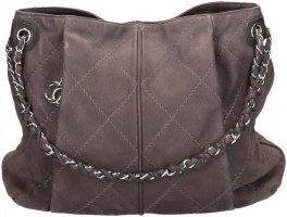 42111 Chanel Hobo Handtasche Tasche aus Suede Leder in grau mit silberfarbenem Metall