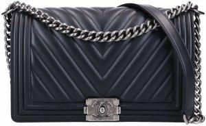 42164 Chanel CC Boy Tasche Handtasche Gr. New Medium aus schwarzem Kalbsleder & silbergraufarbenem Metall mit ID-Karte