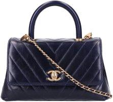 42919 Chanel CC Coco Handle Tasche - Handtasche aus Kalbsleder in Vintage-Optik in blau