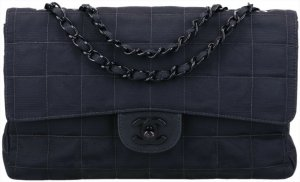 43119 Chanel CC Timeless Flap Tasche Handtasche Gr. Medium aus New Travel Line Nylon in schwarz