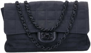 43356 Chanel Timeless Flap Tasche Handtasche Gr. Medium aus New Travel Line Nylon in schwarz