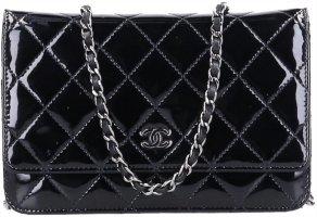 43490 Chanel CC Wallet on Chain WOC Handtasche Umhängetasche aus Lackleder in schwarz und silberfarbenem Metall