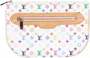 43554 Louis Vuitton Pochette Plate GM Clutch Tasche Handtasche Monogram Multicolore Canvas in Blanc