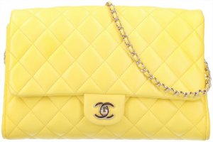 43581 Chanel CC Turnlock Timeless Clutch Handtasche aus Glattleder in Gelb