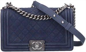 43612 Chanel CC Boy Tasche Handtasche Gr. Medium aus Suede Leder und silbergraufarbenem Metall Mit ID-Karte