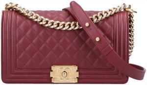 43622 Chanel Boy Handtasche Tasche Gr. Medium aus Glatterer und mattgoldfarbenem Metall mit ID-Karte