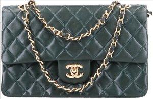 43794 Chanel CC Timeless Flap Tasche Handtasche Gr. Medium aus Lammleder in dunklem grün