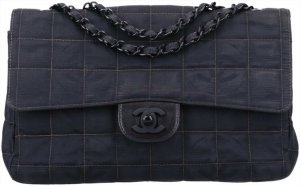 43839 Chanel CC Timeless Flap Tasche Handtasche Gr. Medium aus New Travel Line Nylon in schwarz