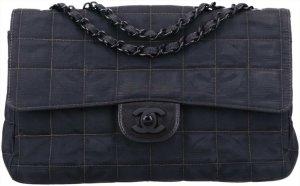 43839 Chanel CC Timeless Flap Tasche Handtasche Gr. Medium aus New Travel Line Nylon in schwarz