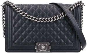 43902 Chanel CC Boy Tasche Handtasche Gr. New Medium aus schwarzem Kalbsleder & silbergraufarbenem Metall