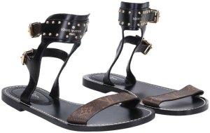 Louis Vuitton Sandały rzymskie czarny Skóra