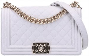44701 Chanel CC Boy Handtasche Gr. Medium aus genarbtem Kalbsleder & Metall mit goldfarbenem Finish